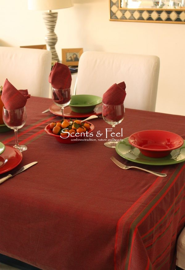 set of Tablecloth Multi Stripes and 6 Napkins