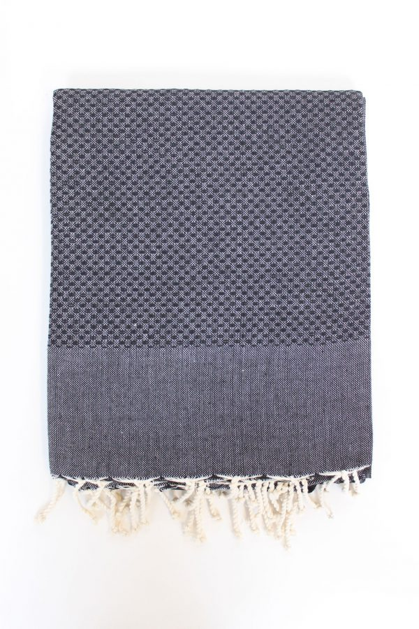 Fouta Towel Neutral Solid Color Honeycomb Black