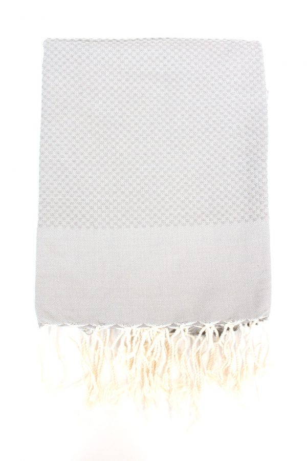 Fouta Towel Neutral Solid Color Honeycomb Pearl Grey