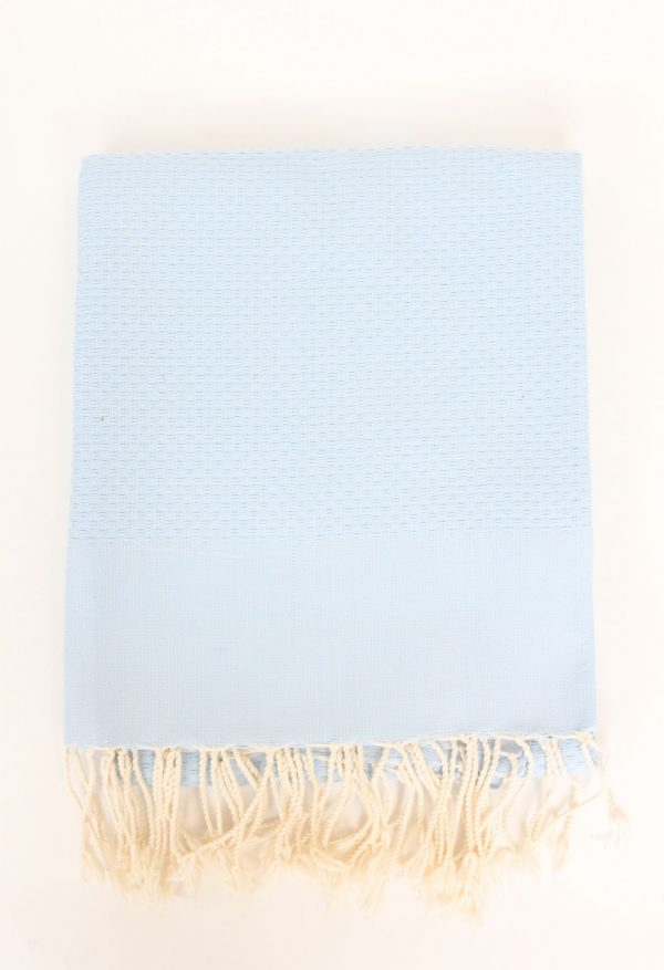 Fouta Towel Neutral Solid Color Honeycomb Azur