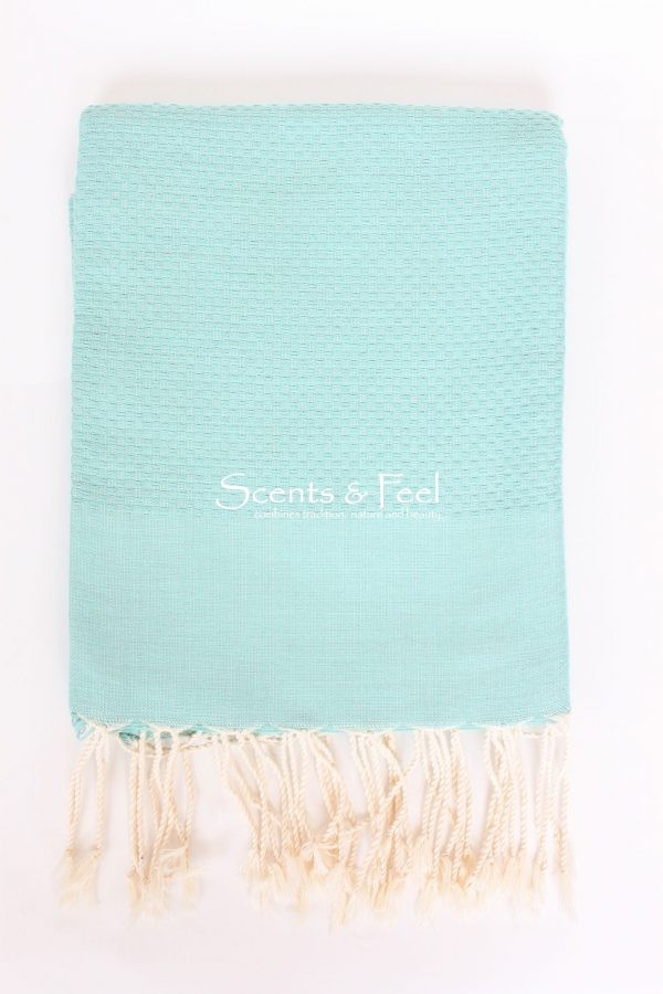 Fouta Solid Color Honeycomb Aqua