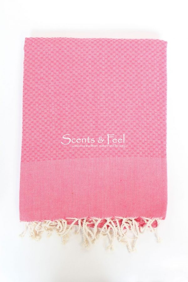Fouta Solid Color Honeycomb Fushia