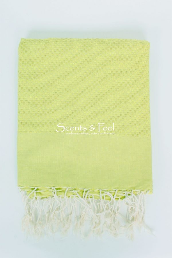 Fouta Solid Color Honeycomb Chartreuse