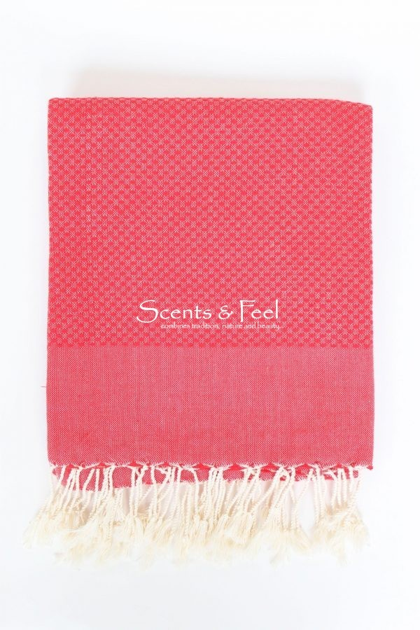 Fouta Solid Color Honeycomb Red