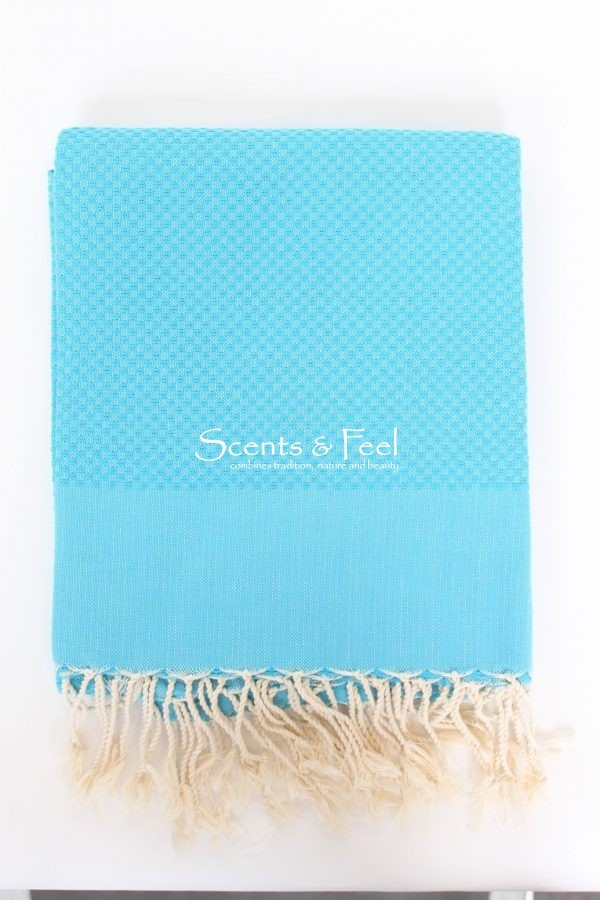 Fouta Solid Color Honeycomb Turquoise