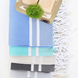 Guest Towel Herringbone 2 Stripes