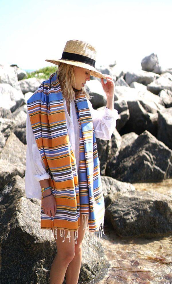 Turkish Beach Towel Canvas Bayadere Multi Stripes