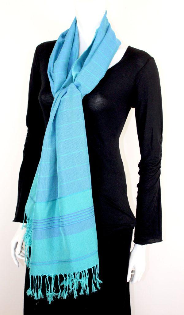 Shawl Thin Stripes Silk and Cotton