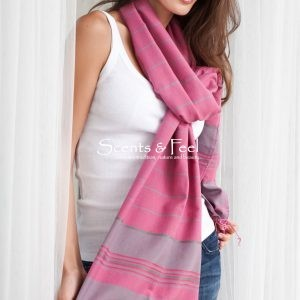 Shawl Thin Stripes Silk and Cotton