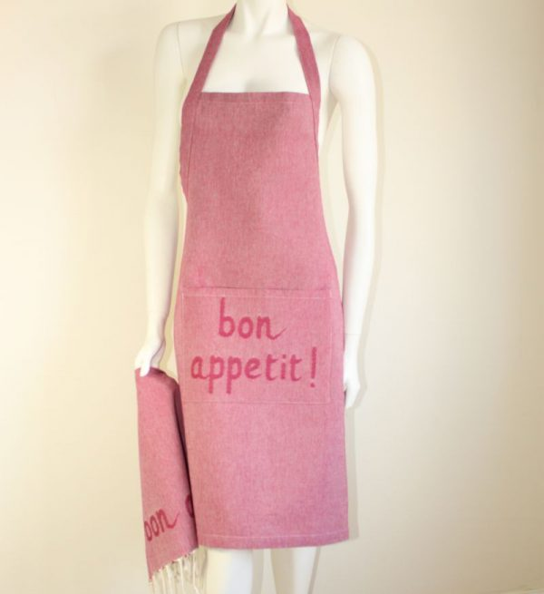"Set of Apron and its matching tea towel "" Bon Appetit"""