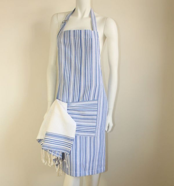 Set of Apron and its matching tea towel Bicolor Thin Stripes