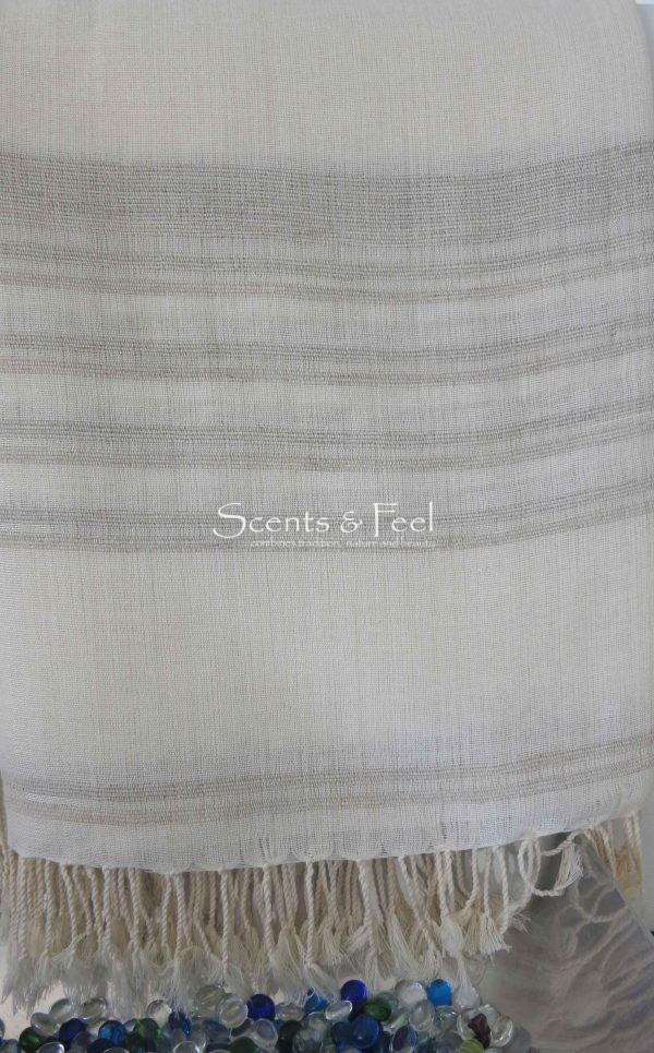 Throw Ethnic Relief Silk Stripes Linen/ Cotton