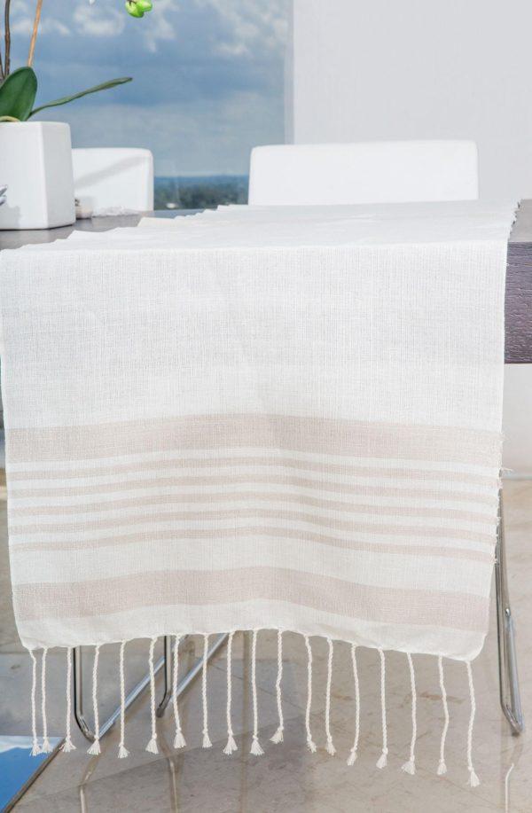 Runner Bicolor Lurex Thin Stripes Linen and Cotton