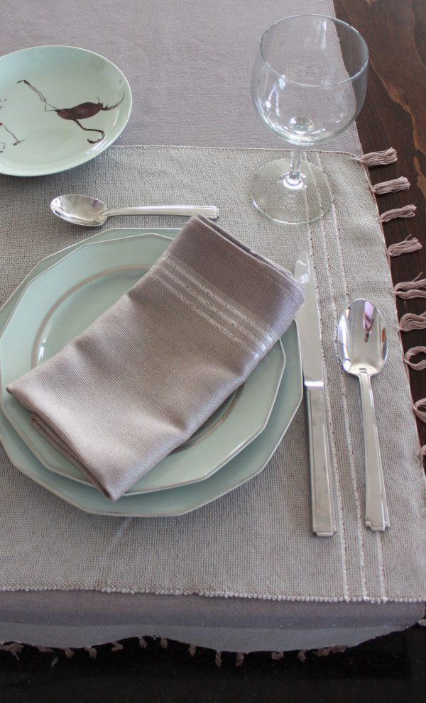 Set of 4 placemats Bicolor Thin Stripes Linen and Cotton