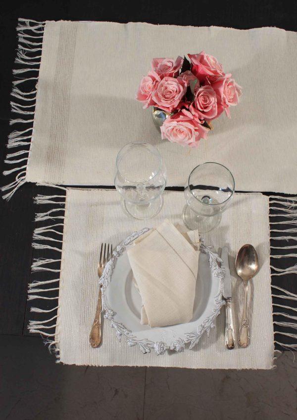 Runner Iridescent Lurex Stripes Linen and Cotton