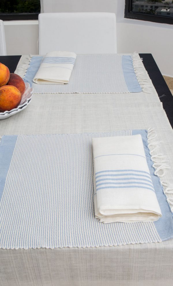 Set of 4 napkins Bicolor Thin Stripes Linen and Cotton