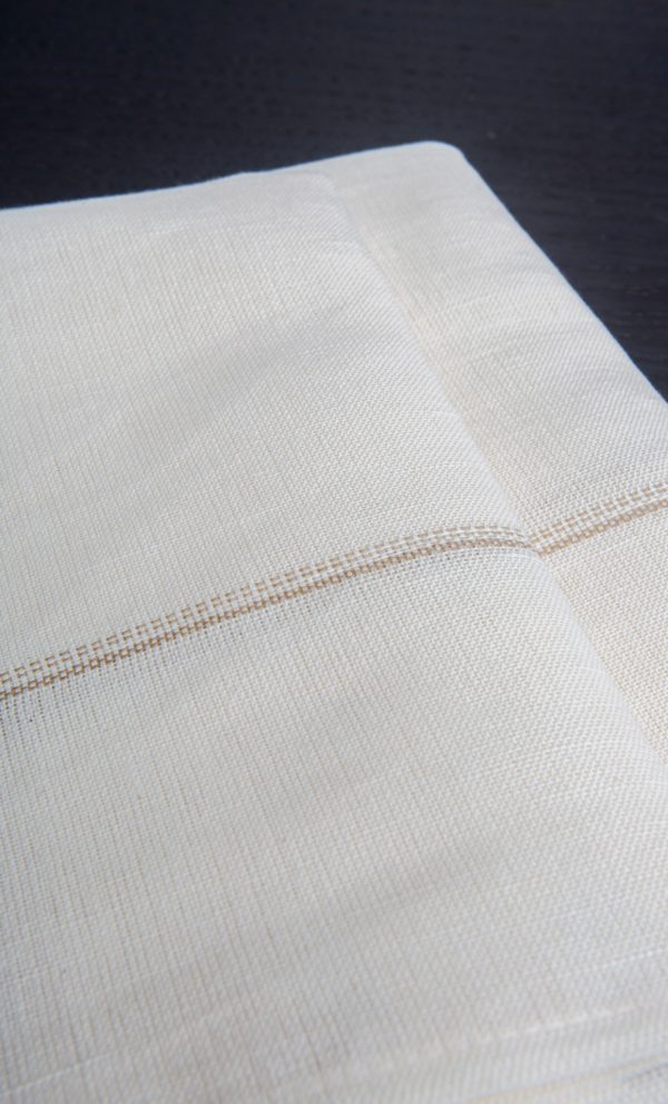 Set of 4 napkins Bicolor Tiny Stripes Linen and Cotton