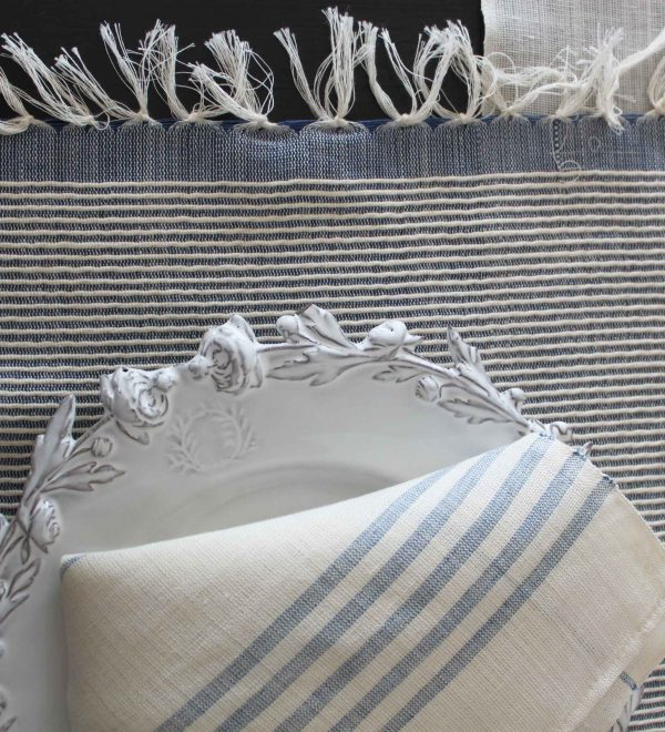 Set of 4 placemats Bicolor Lurex Thin Stripes Linen and Cotton