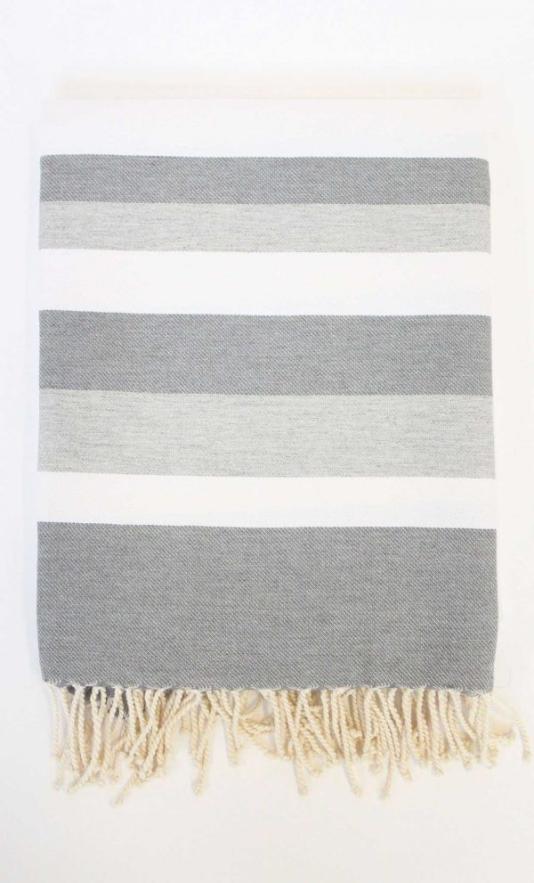 Turkish Beach Towel Ibiza Large Stripes Grey