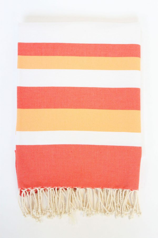 Turkish Beach Towel Ibiza Large Stripes Orange