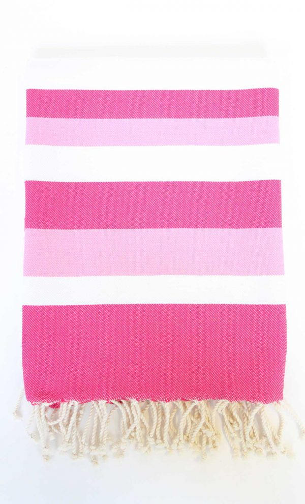 Turkish Beach Towel Ibiza Large Stripes Fushia