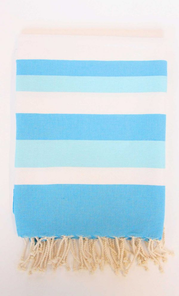 Turkish Beach Towel Ibiza Large Stripes Turquoise