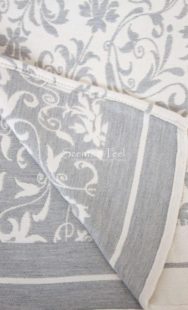Fouta Bath Towel Fleur De Lys Grey