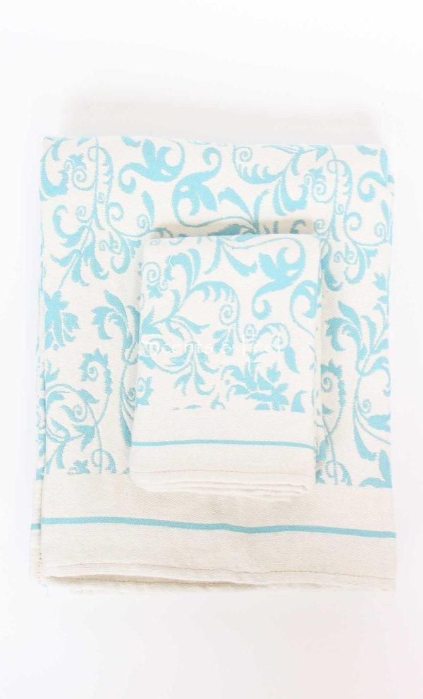 Fouta Guest Towel Fleur de Lys Aqua
