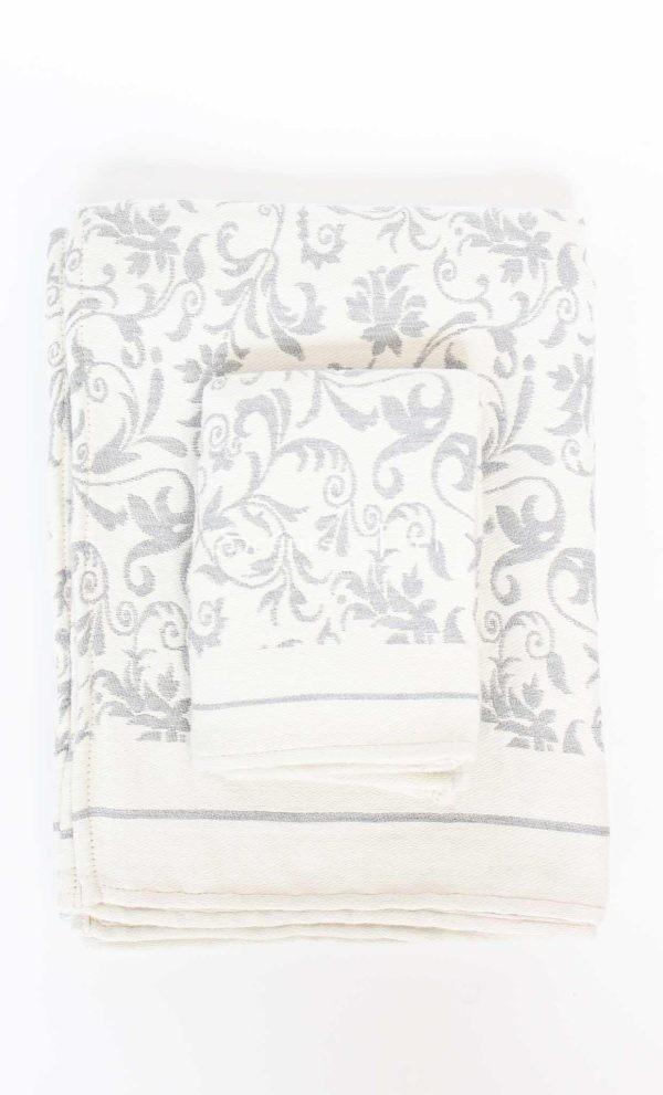 Fouta Guest Towel Fleur de Lys Grey