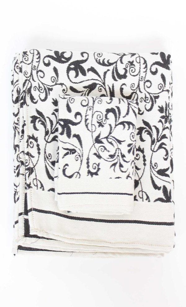 Fouta Guest Towel Fleur de Lys Black