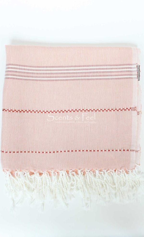 Throw Linen and Cotton Stitches BeigeSalmon