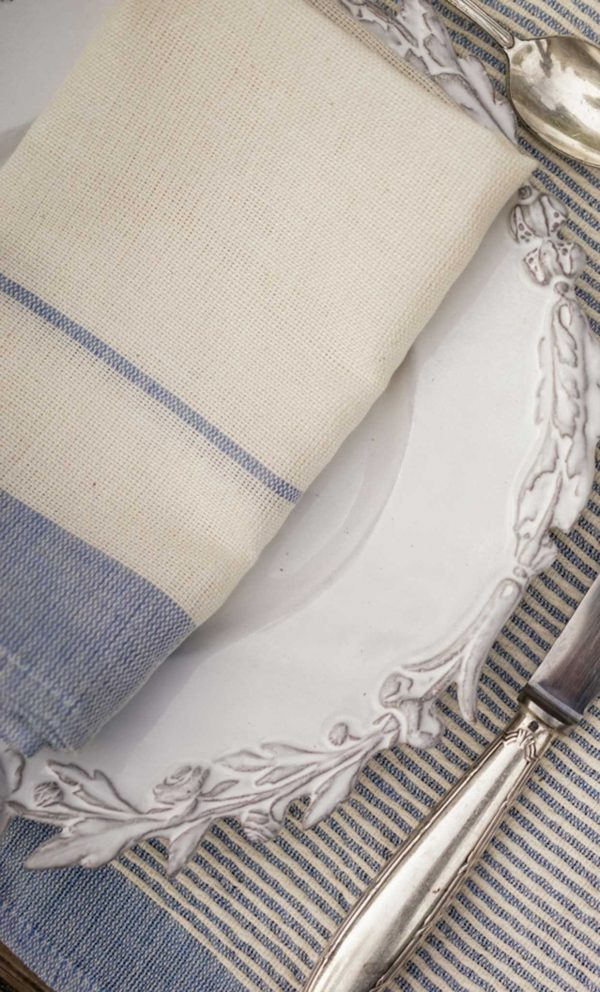Set of 4 napkins Bicolor Wide Borders Stripes Linen and Cotton