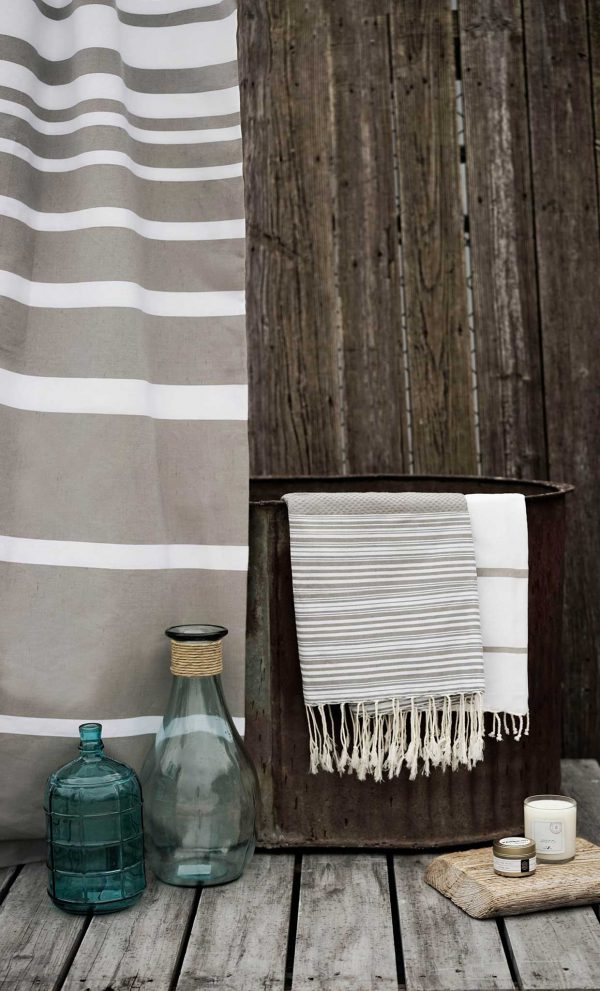 Fouta Shower Curtain Multiband Stipes