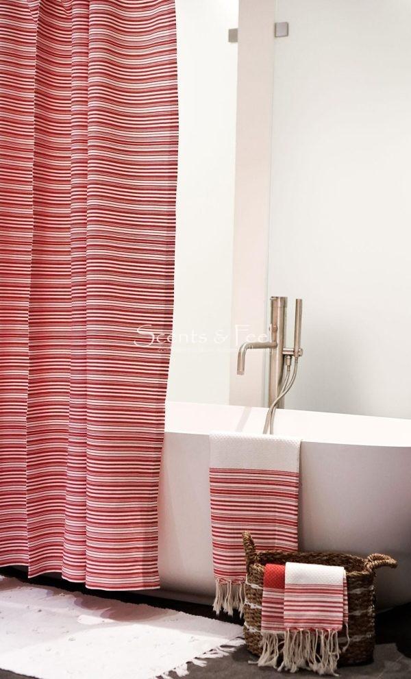 Fouta Shower Curtain Thin Stipes