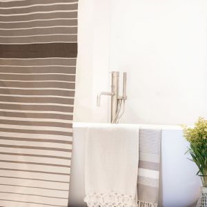 Fouta Shower Curtain Tricolor Thin Stipes