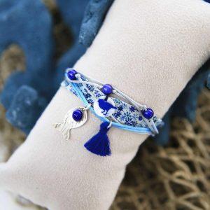 Bracelet Ruban Pompom Blue