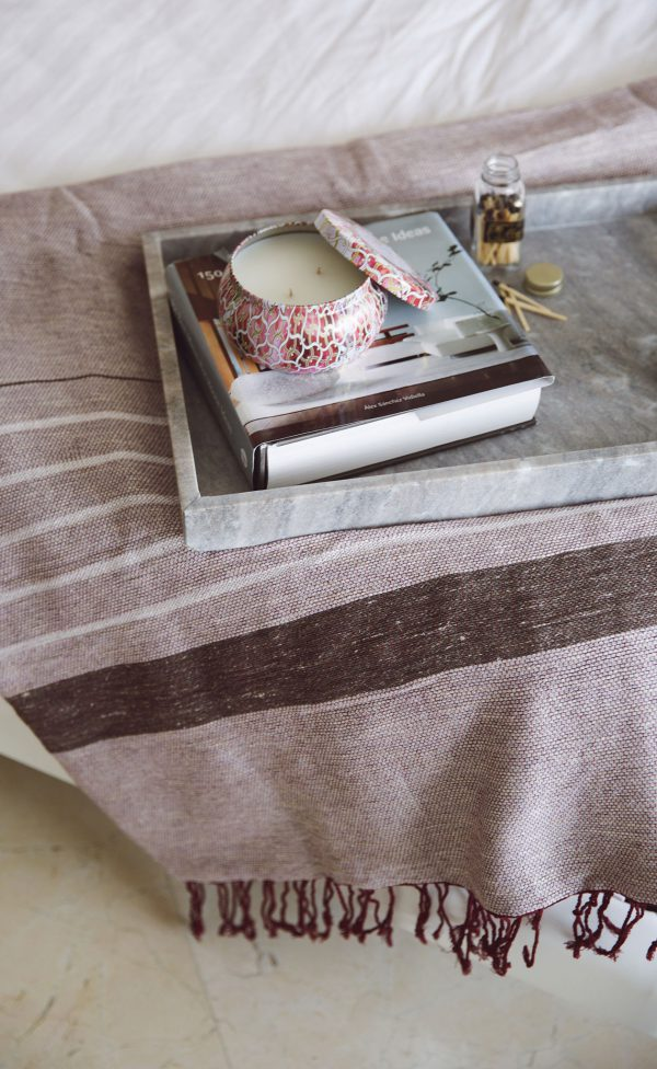 Throw Tricolor Stripes Chine Linen and Bamboo
