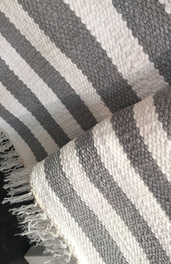 Large Bicolor Stripes Hand Woven Cotton Rug