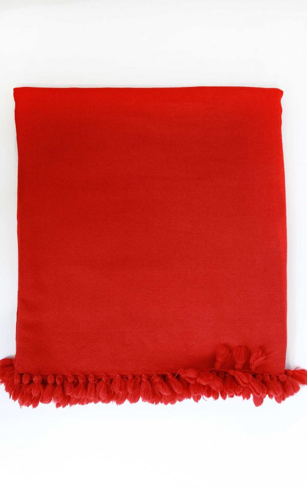 Wool Light Weight Solid Color with PompomThrow