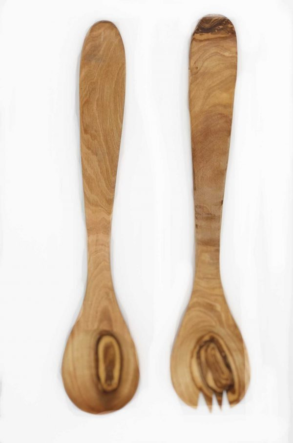 Olive Wood Narrow Salad Serving Set 11 1/2""