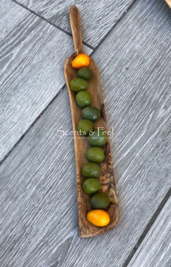 "Olive Wood Rectanle Narrow Tapas Dish 13"""