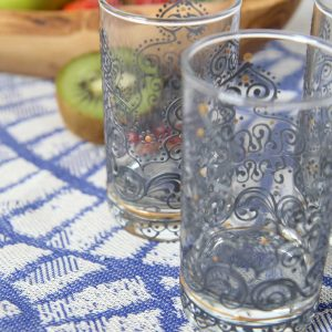 Set of 6 Hand Painted Tea Glasses Arabesque Grey