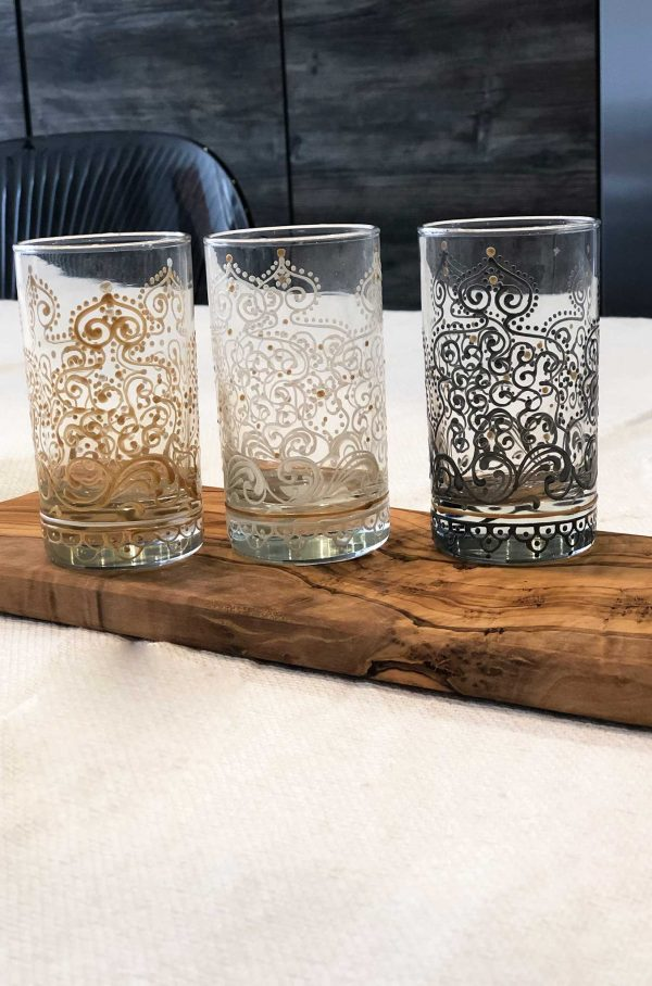 Set of 6 Hand Painted Tea Glasses Arabesque Gold