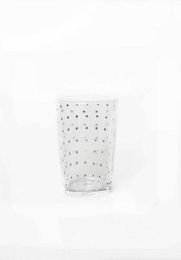Set of 6 Painted Tea Glasses Polka Dots Silver