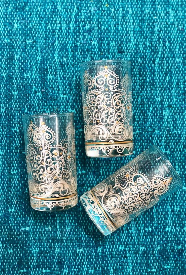 Set of 6 Hand Painted Tea Glasses Arabesque White