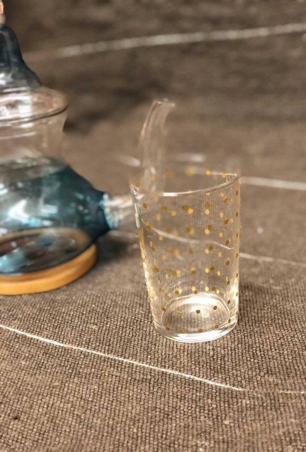 Set of 6 Painted Tea Glasses Polka Dots Gold