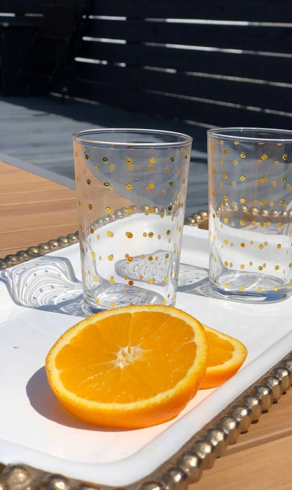 Set of 6 Painted Tea Glasses Polka Dots Gold