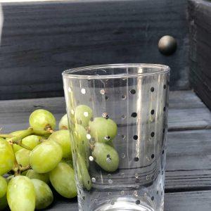 Set of 6 Painted Tea Glasses Polka Dots Silver