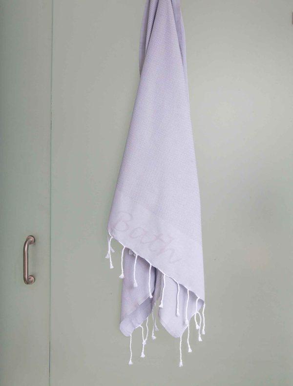 Fouta Bath Towel Embroidered Grey
