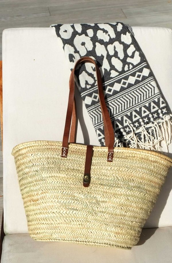 French Market Beach Basket With Leather Stripes